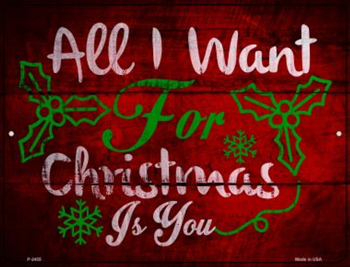 All I Want For Christmas Novelty Metal Parking Sign P-2455