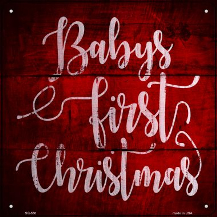 Babys First Christmas Novelty Metal Square Sign SQ-530
