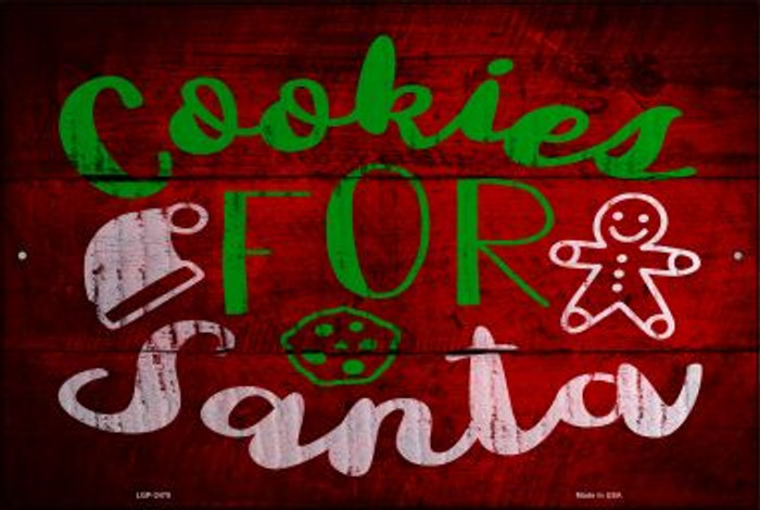 Cookies For Santa Novelty Metal Large Parking Sign LGP-2478