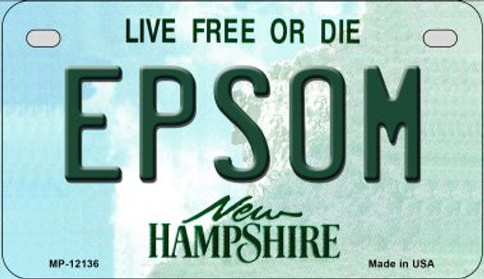Epsom New Hampshire Novelty Metal Motorcycle Plate MP-12136