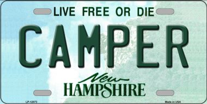 Camper New Hampshire State Novelty Metal License Plate LP-12073