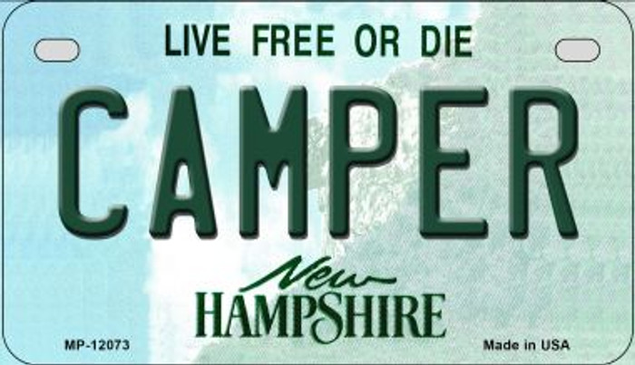 Camper New Hampshire State Novelty Metal Motorcycle Plate MP-12073
