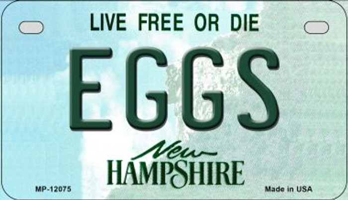 Eggs New Hampshire State Novelty Metal Motorcycle Plate MP-12075