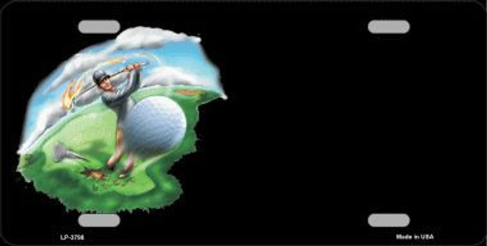 Golfer Golf ball Offset Metal Novelty License Plate