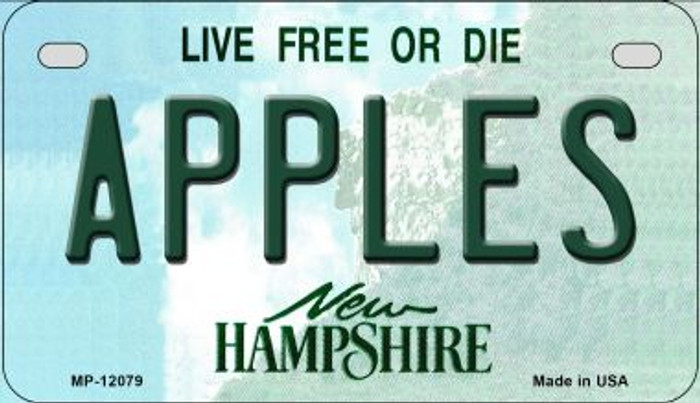 Apples New Hampshire State Novelty Metal Motorcycle Plate MP-12079