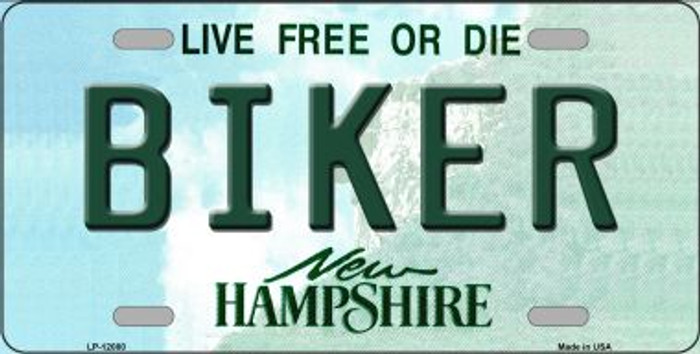 Biker New Hampshire State Novelty Metal License Plate LP-12080