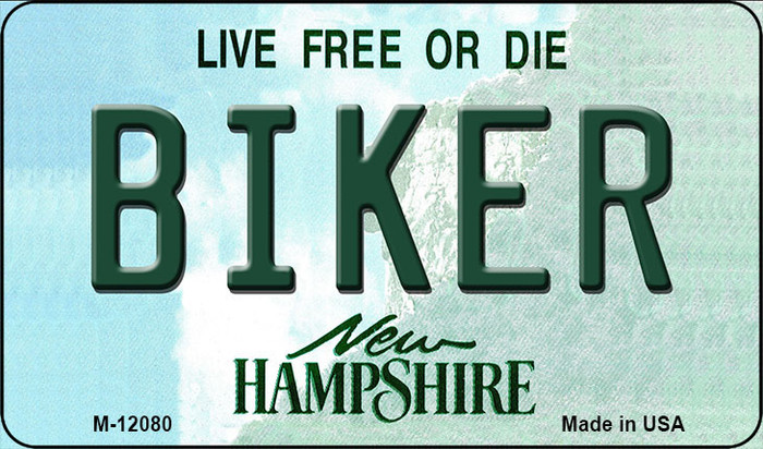 Biker New Hampshire State Novelty Metal Magnet M-12080