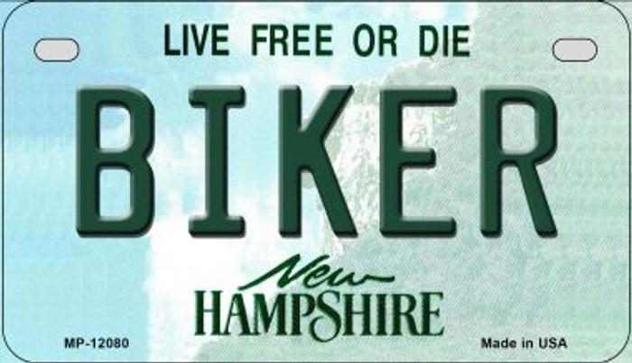 Biker New Hampshire State Novelty Metal Motorcycle Plate MP-12080
