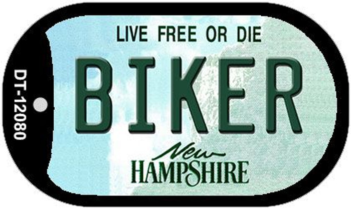 Biker New Hampshire State Novelty Metal Dog Tag Necklace DT-12080