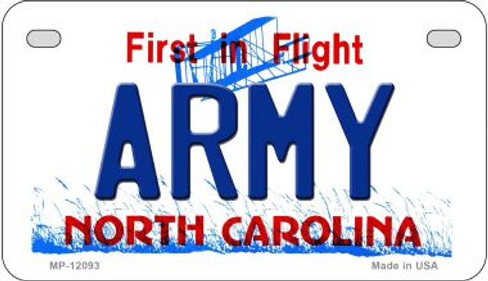 Army North Carolina State Novelty Metal Motorcycle Plate MP-12093
