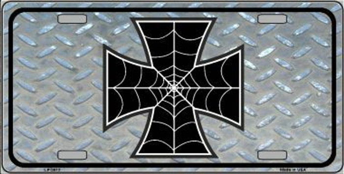 Maltese Cross Spider Web Metal Novelty License Plate