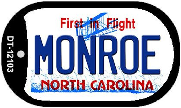 Monroe North Carolina State Novelty Metal Dog Tag Necklace DT-12103