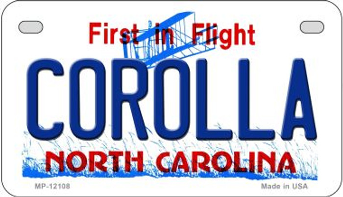 Corolla North Carolina State Novelty Metal Motorcycle Plate MP-12108