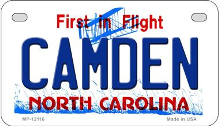 Camden North Carolina State Novelty Metal Motorcycle Plate MP-12116