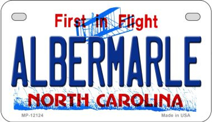 Albermarle North Carolina State Novelty Metal Motorcycle Plate MP-12124