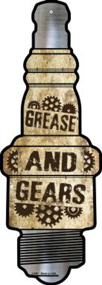 Grease And Gears Novelty Metal Spark Plug Sign J-040