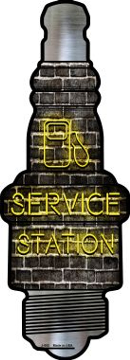 Service Station Novelty Metal Spark Plug Sign J-052