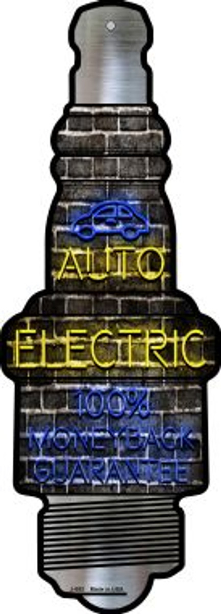 Auto Electric Novelty Metal Spark Plug Sign J-053