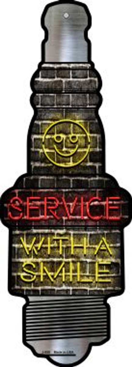 Service With A Smile Novelty Metal Spark Plug Sign J-055