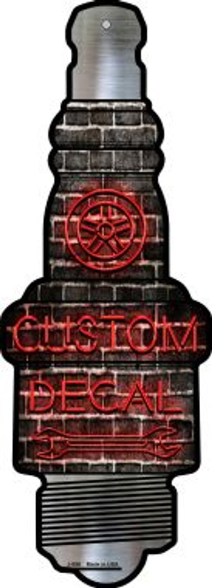 Custom Decal Novelty Metal Spark Plug Sign J-056