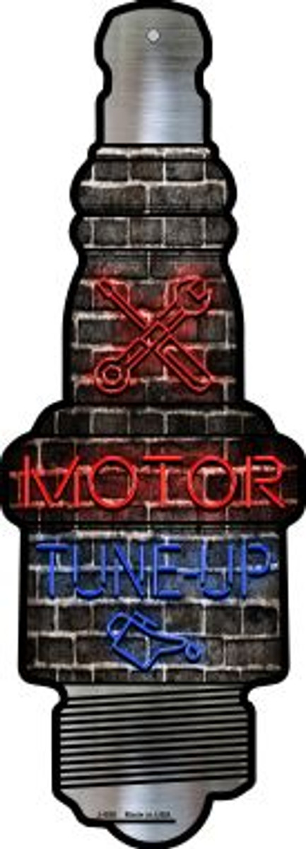 Motor Tune Up Novelty Metal Spark Plug Sign J-058
