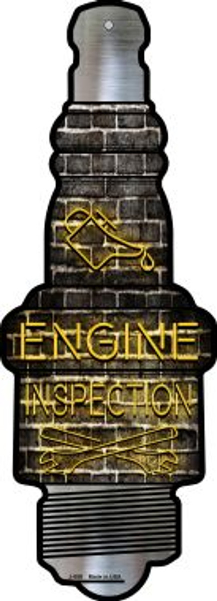 Engine Inspection Novelty Metal Spark Plug Sign J-059