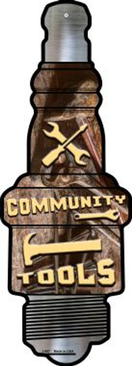Community Tools Novelty Metal Spark Plug Sign J-067