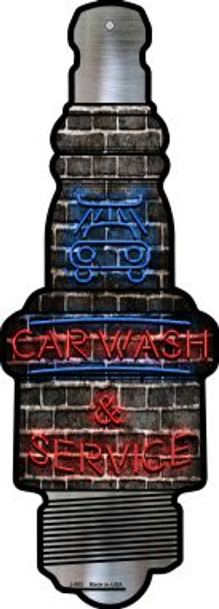 Car Wash and Service Novelty Metal Spark Plug Sign J-082