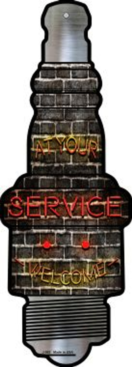 At Your Service Novelty Metal Spark Plug Sign J-083