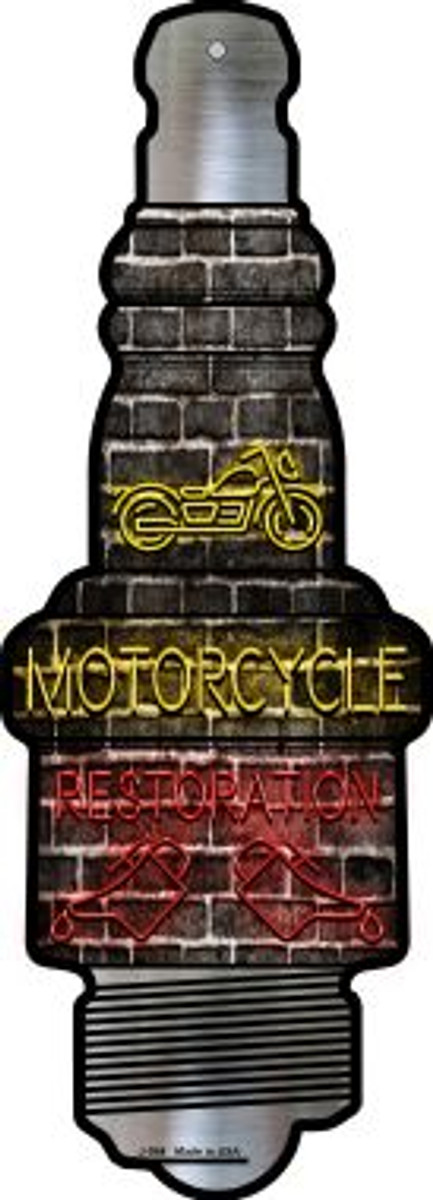 Motorcycle Restoration Novelty Metal Spark Plug Sign J-084