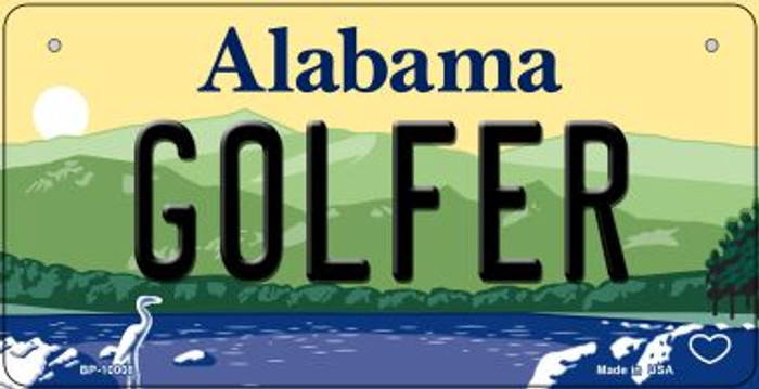 Golfer Alabama Novelty Metal Bicycle Plate BP-10008