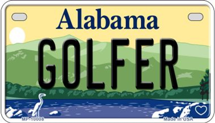 Golfer Alabama Novelty Metal Motorcycle Plate MP-10008