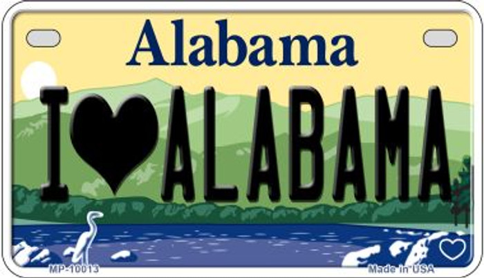 I Love Alabama Novelty Metal Motorcycle Plate MP-10013