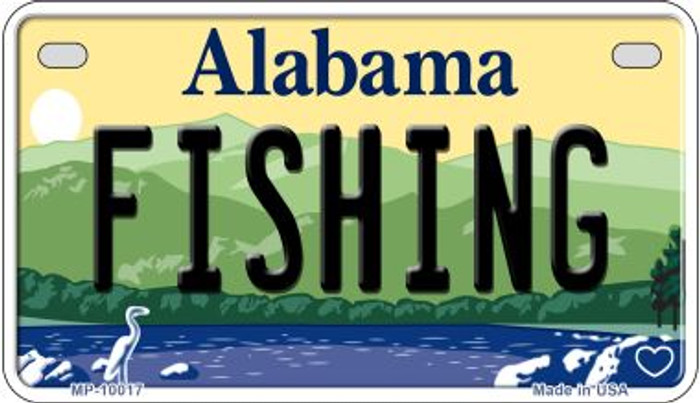 Fishing Alabama Novelty Metal Motorcycle Plate MP-10017