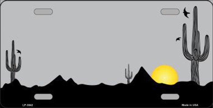 Southwest Cactus Sunrise Gray Metal Novelty License Plate