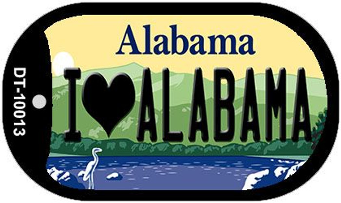 I Love Alabama Novelty Metal Dog Tag Necklace DT-10013