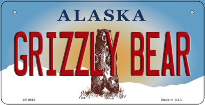 Grizzly Bear Alaska Novelty Metal Bicycle Plate BP-9594