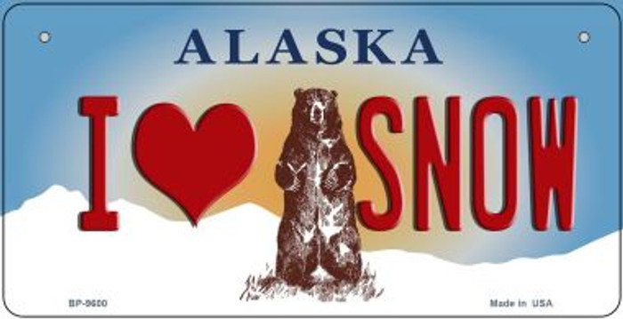 I Love Snow Alaska Novelty Metal Bicycle Plate BP-9600