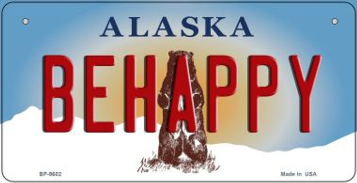 Be Happy Alaska Novelty Metal Bicycle Plate BP-9602