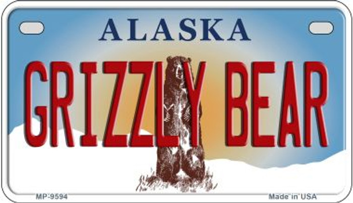 Grizzly Bear Alaska Novelty Metal Motorcycle Plate MP-9594