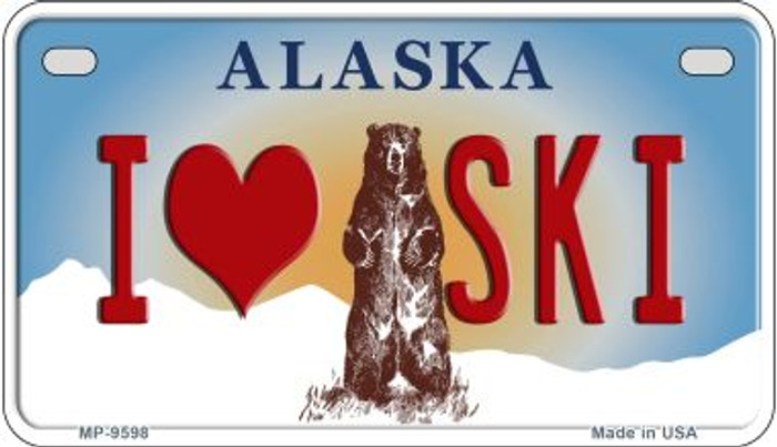 I Love to Ski Alaska Novelty Metal Motorcycle Plate MP-9598