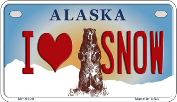 I Love Snow Alaska Novelty Metal Motorcycle Plate MP-9600