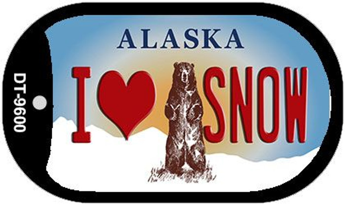 I Love Snow Alaska Novelty Metal Dog Tag Necklace DT-9600