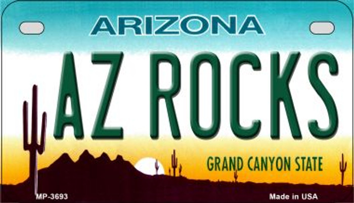 AZ Rocks Arizona Novelty Metal Motorcycle Plate MP-3693