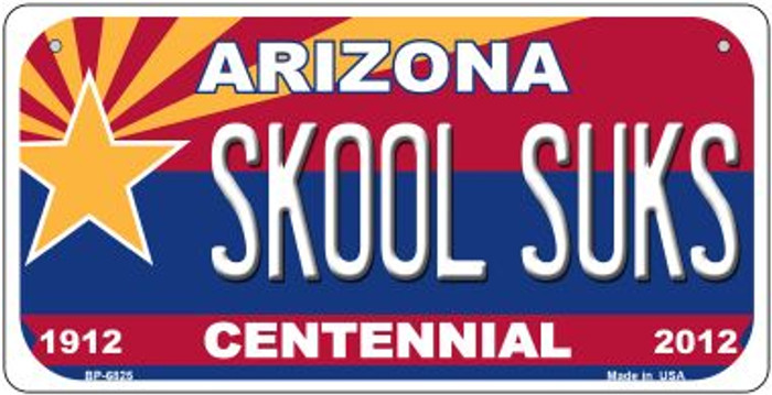 Skool Suks Arizona Centennial Novelty Metal Bicycle Plate BP-6825