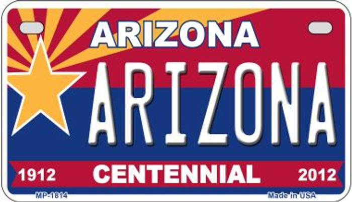 Arizona Centennial Novelty Metal Motorcycle Plate MP-1814
