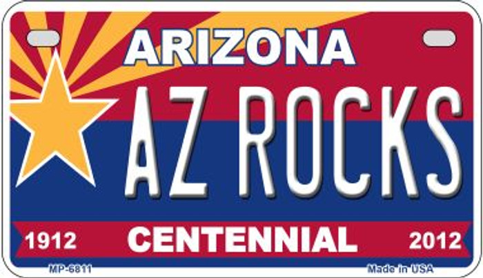 AZ Rocks Arizona Centennial Novelty Metal Motorcycle Plate MP-6811