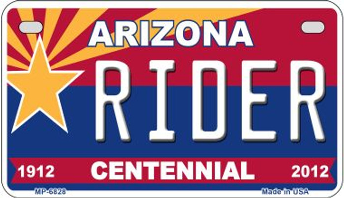Rider Arizona Centennial Novelty Metal Motorcycle Plate MP-6828