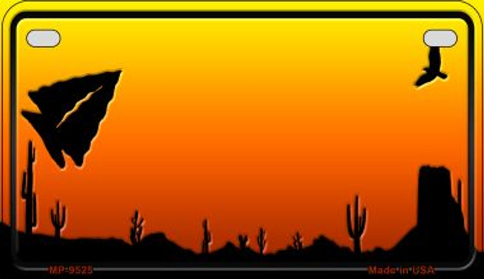 Arrowhead Sunset Arizona Western Novelty Metal Motorcycle Plate MP-9525