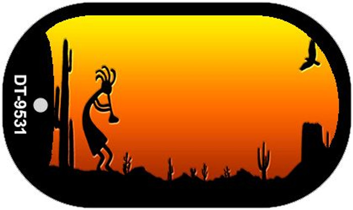 Kokopelli Sunset Arizona Western Novelty Metal Dog Tag Necklace DT-9531